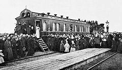 Вагон-Церковь во имя святой равноапостольной княгини Ольги. Вагон-Церковь предназначался для удовлетворения духовных нужд строителей железнодорожной магистрали и был приписан к Томскому управлению Сибирской железной дороги.
